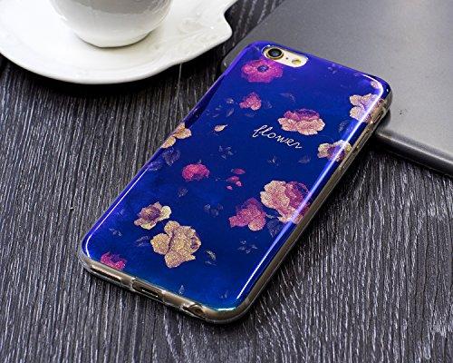 iPhone 6 Custodia Silicone, iPhone 6S Cover TPU, JAWSEU Apple iPhone 6/6S 4.7 Case Caso Bella Luminoso Floreale Brillante Blu Protezione Cristallo Trasparente Custodia Cover Antiurto Ultra Sottile Lis Floreale #11