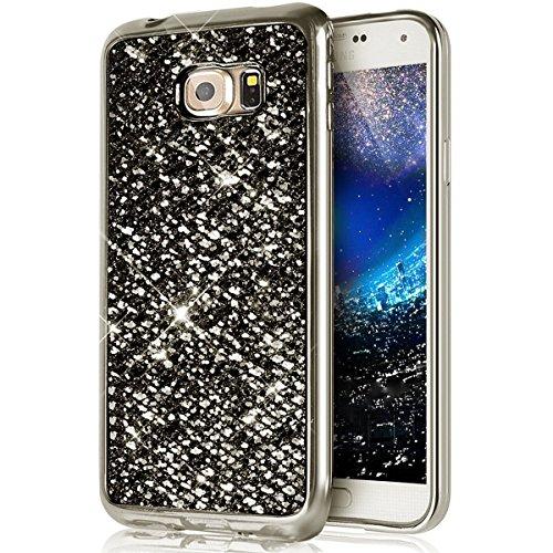 Custodia Cover per Samsung Galaxy S8,KunyFond Lusso Moda Brillantini Glitter Bling Placcatura Custodia Ultra Slim Soft Tpu Silicone Case Cover Scintillare Luccichio Cristallo Morbida Gel Protettiva Cu nero gliter