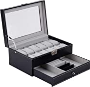 YAHILL Jewelry Storage Box Watch Organizer Lockable Case Display Double Layer 1 Drawer Leather Case for Sunglasses Earrings Rings