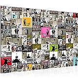 Bilder Collage Banksy Street Art Wandbild 120 x 80 cm Vlies - Leinwand Bild XXL Format Wandbilder Wohnzimmer Wohnung Deko Kunstdrucke Bunt 3 Teilig -100% MADE IN GERMANY - Fertig zum Aufhängen 302731a