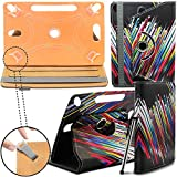 New TAN Design Universal Leather 360 degree Rotating Stand Case Cover For Kindle Fire HD 7-inch Tablet PC - Rainbow Shooting Star ( Designer Folio Android Colourful Luxury Protective 7' Tab Flip Skin ) by Gadget Giant®