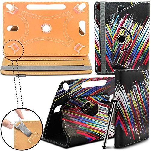 iRulu 7 Inch Tablet PC Neues Design Universelle um 360 Grad drehbare PU-Leder Designer bunte Hülle mit Standfunktion - Cover - Tasche - Rainbow Shooting Star / Regenbogen Stern - Von Gadget Giant®