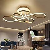 Plafonnier LED Dimmable avec restaurant courbé lampe de plafond Télécommande moderne Lustre en acrylique Plafond en métal pou