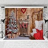 KateHome PHOTOSTUDIOS 3x3m Fotografie Hintergrund Holz, Schnee Xmas Tree Grau Teppich Hintergrund für Hochzeit Foto Studio Nahtlos Wiederverwendung Hintergründe