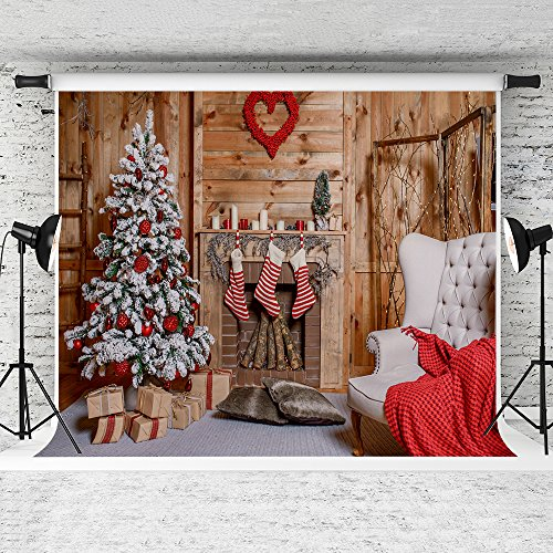 KateHome PHOTOSTUDIOS 2,2x1,5m Chrismas Fotografie Hintergrund Holz, Schnee Xmas Tree grau Teppich Hintergrund für Hochzeit Foto Studio nahtlos Wiederverwendung Hintergründe