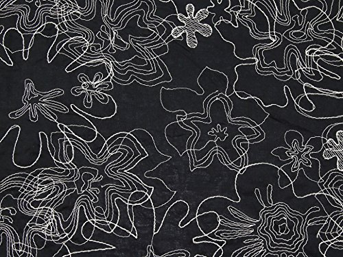 Bestickte Baumwoll-voile Kleid (Bestickte Blumen Baumwolle Voile Kleid Stoff, Meterware, Schwarz)