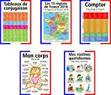 A3 French poster pack teaching aid / classroom resources, containing our top 5 french selling posters. A3 posters (Buy 4 get 1 free) 1 each of: Conjugation table, Counting, Daily Routines, My Body and The 13 regions of France. (NOT laminated, folded to A4.)