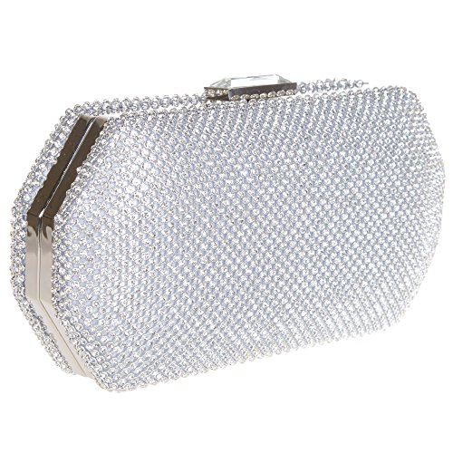 Bonjanvye Prismatic Shaped Rhinestone Purses and Handbags for Women AB Silver Silver