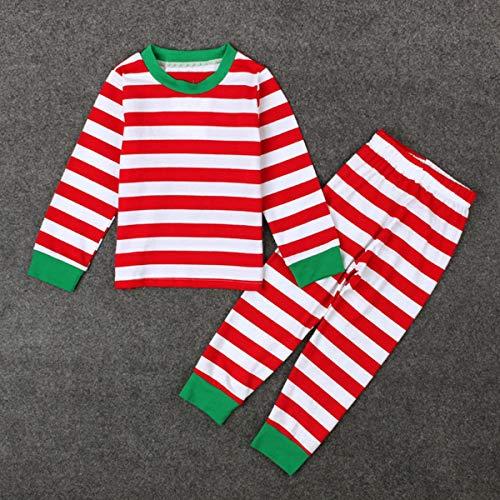 PeiXuan2019 2 STÜCKE Kleinkind Baby Kinder Jungen Mädchen Weihnachten Weihnachten Halloween Kleidung Gestreiftes Hemd Tops + Pants Set (Color : Red, Size : 3-4T) (Junge Gestreiften Hemd)