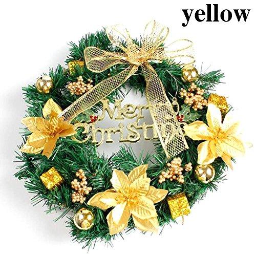 (ALINT 40 CM Weihnachtsschmuck Weihnachtsschmuck Kranz Neue Design Weihnachten DIY Kranz Wohnkultur Mode-accessoires Bunte Party Supplies (Gelb))