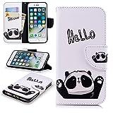 Artfeel Hülle für iPhone 7,iPhone 8 Leder Flip Brieftasche Hülle,Niedlich Hallo Panda Muster Malerei Magnetverschluss Stand Handyhülle mit Kartenfach und Geldbörse Schutzhülle