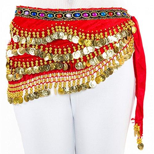 Dancina Damen Bauchtanz Hüfttuch Samt mit 310 Goldmünzen Rot (Bauchtanz Samt-hüfttuch)