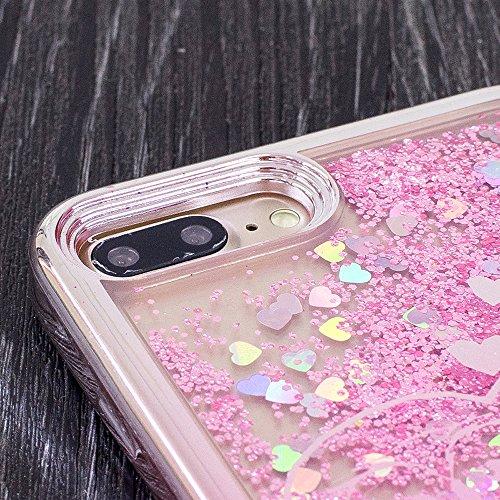 Case Cover iPhone 7 in Silicone, Moda Ultra Sottile Glitter Bling Soft Morbido TPU Gel Silicone Protettivo Protezione Custodia Copertura Shell per Apple iPhone 7 Plus 5.5 Pollici - Argento Sabbie 5