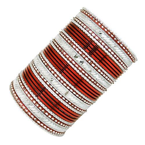 Traditionelle indische Bollywood Metall-Armbänder Hochzeit Schmuck Ethnic Geschenk für Frauen 2 * 8 (Indische Armreifen Rot)