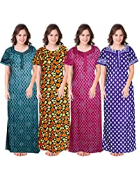 Mudrika Women's Cotton Printed Nighty (Multicolor, Free Size) Combo Pack of 4 Peice