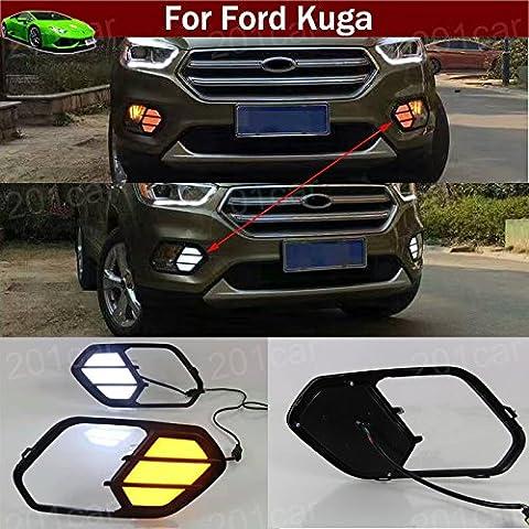 Lot de 2feux de brouillard Blanc/jaune décoration de circulation diurnes lampe LED Feu d'avertissement Coque Coupez des emblèmes sur mesure pour Ford Kuga 20132014201520162017