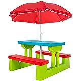 TecTake Kindersitzgruppe für bis zu 4 Kinder inkl. Sonnenschirm 2 Bänke + Tisch