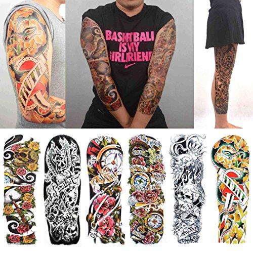 COKOHAPPY Extended Temporäre Tattoo 6 Verschiedene Blätter Arm Schädel Rose ( Ein Satz ) ) für Herren Damen