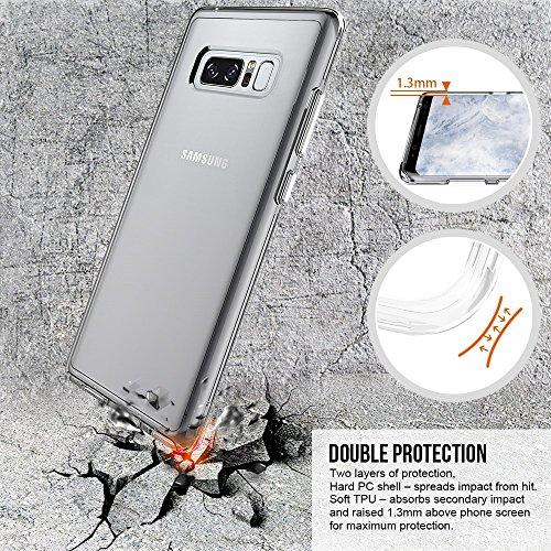 EKINHUI Case Cover Transparente Doppelschicht-Art-Anti-Cratch-Schlag-Absorbtion-schützender Shell-Abdeckungs-Fall für Samsung-Galaxie-Anmerkung 8 ( Color : Gray ) Clear