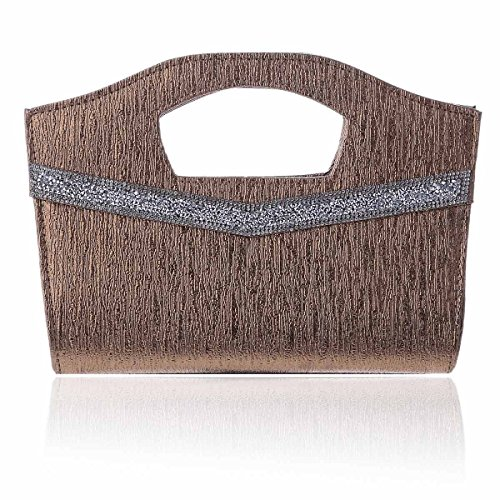 Damara Sac Pochette Femme de Soirée Fête Nubuck Large Léger Texture Glitter Etamé brun