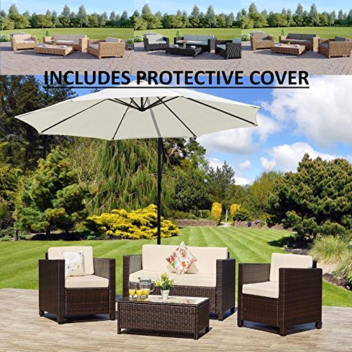 ROMA 4 Seater Outdoor Garden Rattan Patio Set Conservatory Furniture Sofa, Armchair and Coffee Table Set INCLUDES PROTECTIVE COVER (Brown)