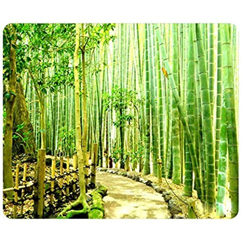 Bamboo Forest Japan Kamakura Gaming Mouse Pad Oblong Shaped Mouse Mat Design Natural Eco Rubber Durable Computer Desk Stationery Accessories Mouse Pads For Gift Support Wired Wireless or Bluetooth Mouse