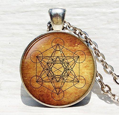 Metatron Cubo de colgante, con la geometría sagrada joyas, Geométrico Collar, Collar de geometría sagrada, joyas para hombres, Collar para hombres
