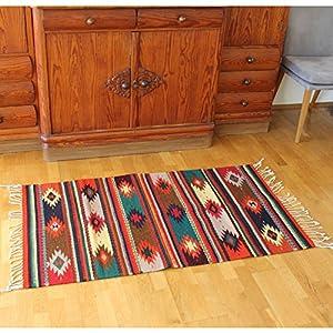 Teppich Vintage 150x80 cm Flor de Oaxaca - Naturfarben | Wolltepich | Handarbeit | Teppich aus Wolle handmade