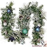 Valery Madelyn 6ft 1.8m beleuchtet Winter Wünsche Blau Grün Silber und Weiß Weihnachtsgirlande mit bruchsicherlichen Kugel und Zubehör, batteriebetrieben 20 LED-Leuchten mit Fernbedienung