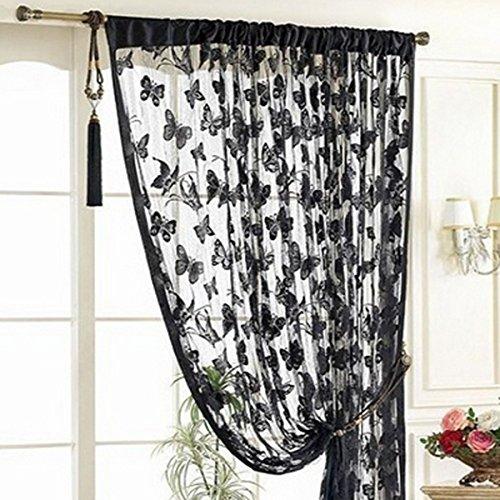 Sharplace Schmetterling Vorhang Fadenvorhang Jacquard Tür Fenster Scheibe Raumteiler Quaste 200cm x 100 cm - Schwarz