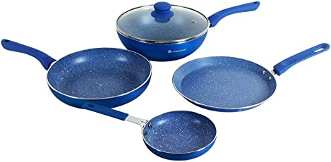 Wonderchef Royal Velvet Induction Base Aluminium Cookware Set with Free Mini Frying Pan, 4-Pieces