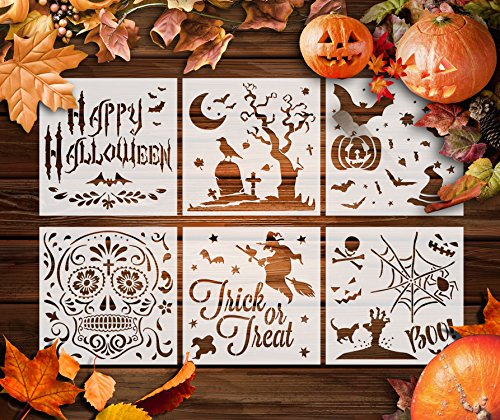 GSS Designs Halloween-Dekor-Schablonen, 6 Stück, für Sammelalben, Karten und Halloween-Ideen (152 x 152 mm) - Verwendung auf Keksen, Wänden, Glas, Stoffen, Holz, Karten, Poster und mehr (SL-020)