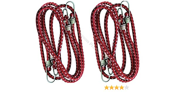 Bungee Cord Cable Luggage Elastic Red 2 X 45cm Straps Hooks Stretch Tie Car Bike