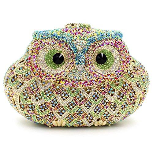 Damen Clutch Abendtasche Handtasche Geldbörse Funkelt Glitzer Kristall Luxus Eule Tasche mit wechselbare Trageketten von Santimon(15 Kolorit) Hellgrün