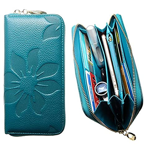 CellularOutfitter Leather Clutch/Wallet Case - Embossed Flower Design w/ Multiple Card Slots and Compartments - Teal Blue