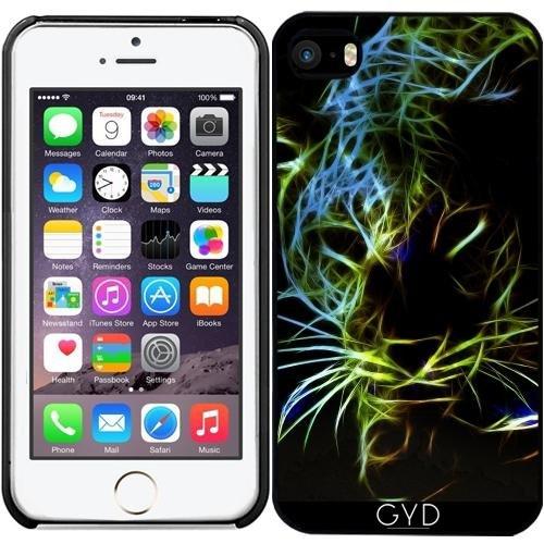 Leder Flip Case Tasche Hülle für Apple iPhone 5/5S - Neon Leoparden by Gatterwe Starre Kunststoff