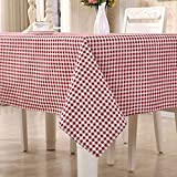 HomeT Baumwolle Leinen Geometrisch Rot & Weiß Kariert Tischdecke Gingham Kastanienbraun für Rechteck Tisch (140x140cm)