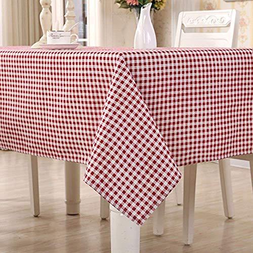 HomeT Baumwolle Leinen Geometrisch Rot & Weiß Kariert Tischdecke Gingham Kastanienbraun für Rechteck Tisch (90 x 90 cm)