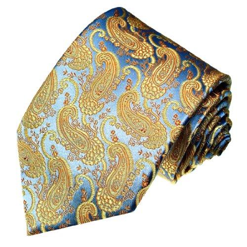LORENZO CANA - Luxus Designer Krawatte aus 100% Seide - Blau Gold Paisley - hochwertige handgefertigte Seidenkrawatte - 84206 (Handgefertigte Aktentasche)