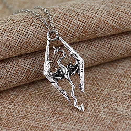 Die Ältere Scrolls V Skyrim Halskette Mode Tes Drachen Anhänger Halsketten Für Männer Frauen Mode Schmuck Charm Cool Accessoires
