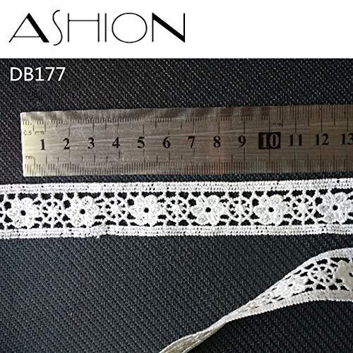 AiCheaX Spitzen basteln - 10 Yards 23 MM weiß bestickte Tüll Stoff DIY Rock Saum Tanz Kostüme Bekleidungszubehör Spitzenbesatz Nähen Handwerk LP-DB177 - (Farbe: weiß) (Tanz Materialien Für Kostüm)