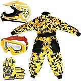 Leopard LEO-X17 Kinder Motocrosshelme Motorradhelm + Handschuhe + Brille + Kinder Motocross Anzug - Passen S (5-6 Jahre alt) + Helm&Handschuhe XL - Gelb