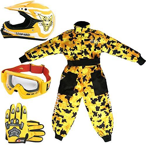 Leopard LEO-X17 Gelb Kinder Motocrosshelme Motorradhelm (XL 55cm)+ Handschuhe (XL 8cm) + Brille + Kinder Motocross CAMO Anzug - XS (3-4 Jahre alt)