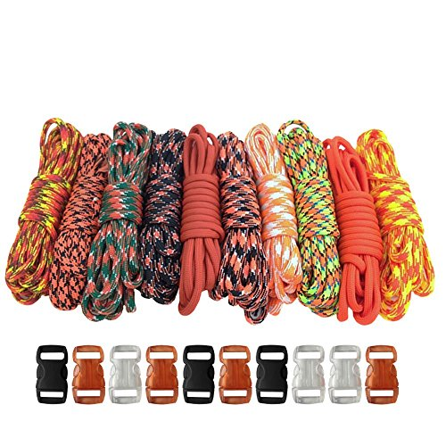 PARACORD PLANET 550lb Type III Paracord Combo Crafting Kits with FREE Buckles - For Friendship Bracelets and Craft Beginners Camo Party Favor Kit