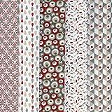 Textiles français Stoffpaket (Stoffpak) Kollektion 'Träume in Farbe' 5 Stoffe - (Natur) Taupe-grau und beige mit rot | 100% Baumwolle | Jedes Stück 50 cm x 40 cm