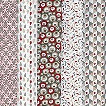 Textiles français Stoffpak bundle de telas - 5 telas: gris pardo y beige con rojo - colección de telas 'soñar con colores' | 100% algodón | 50 cm x 40 cm