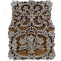 Textildruck Hand Floralen Design Holzblock Auf Sari Stoff Stempel Indien Geschnitzt