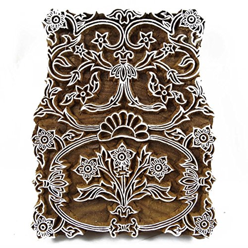 5.6 Block (Textildruck Hand Floralen Design Holzblock Auf Sari Stoff Stempel Indien Geschnitzt)