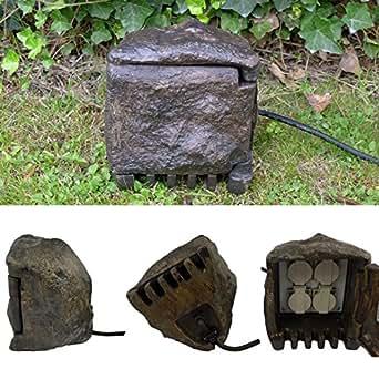 l e 53000440 bloc prise de courant en pierre aussensteckdose ip44 prot g contre les. Black Bedroom Furniture Sets. Home Design Ideas