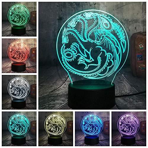 CFLEGEND3D Nachtlicht (Touch + Fernbedienung) LED Tischlampe Statue Kinderzimmer Schlaf Licht 7 Farbe USB Eis Lied und Feuer Lied TargaryenovHouse Stark Nachtlicht Tischlampe Hauptgeschenke